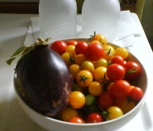 aubergine and tomato